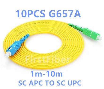 FirstFiber 10PCS 1m 2m 3m SC APC To SC UPC  Fiber Patch Cable G657A, Jumper, Patch Cord Simplex 2.0mm  SM 5m 10m