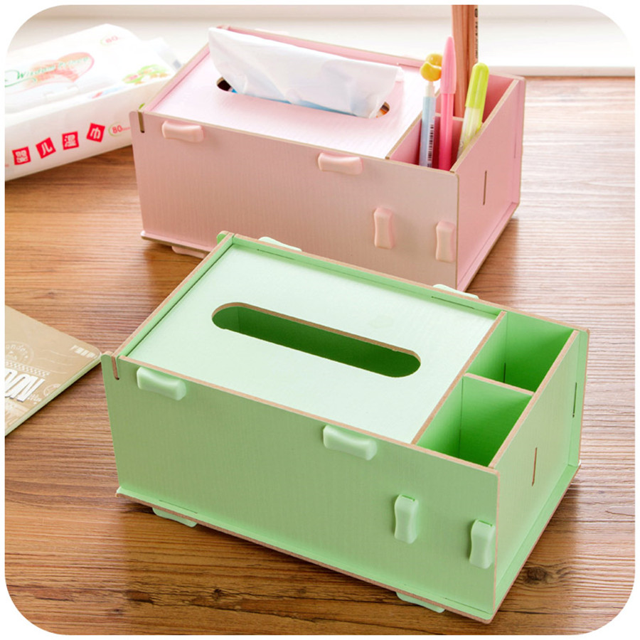 Wood Tissue Case Box Holder Table Car Storage Boxes Organization Remote Control Divider Desktop QQP117