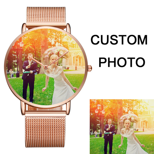 Gold Silver men's women's Custom logo Couple Watch dial Printing photo Wristwatc