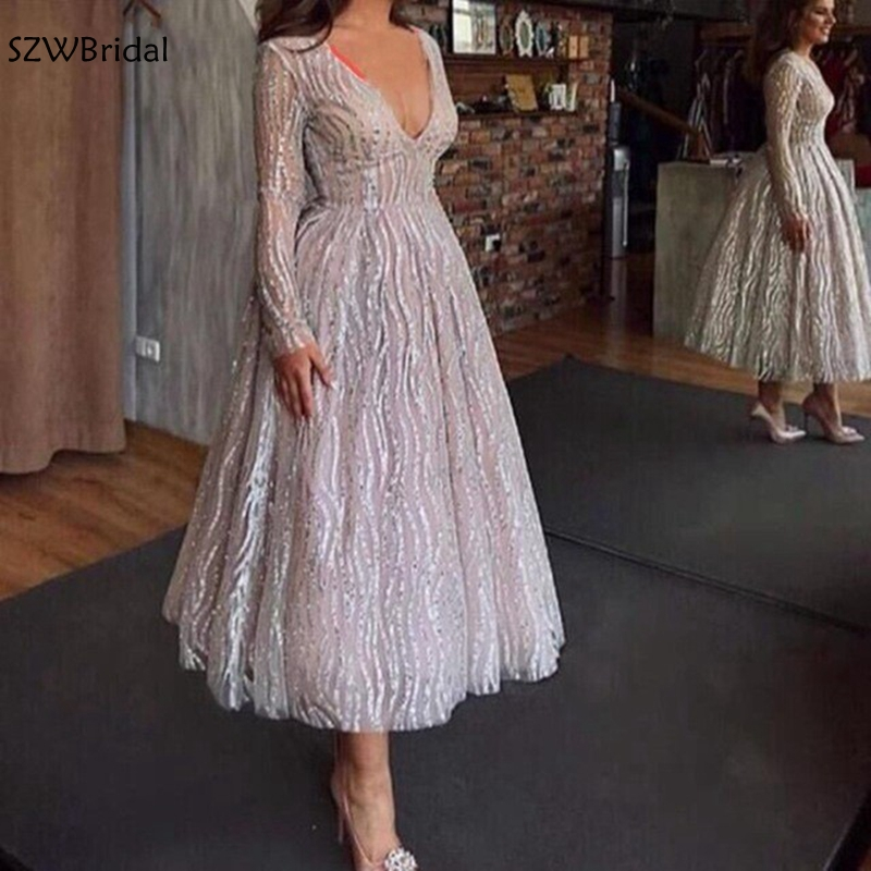 New Arrival V Neck Long Sleeve Evening Dresses 2019 Dubai Arabic Evening Gown Sequined Lace Short Evening Dress Plus Size