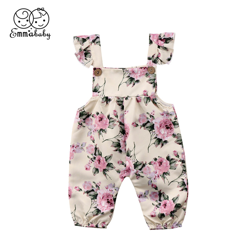 Cute Floral Infant Baby Girls Strap Sleevless Ruffled   Rompers   Jumpsuit Hot Sale Newborn Baby Girls Outfits Clothes 0-24M