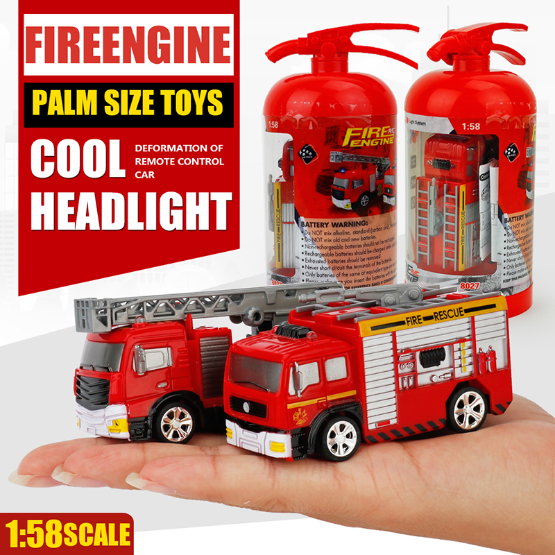 RC Truck 1:58 Fire Truck Engine Remote Control Pumper with LED Lights and Sounds Construction Vehicles for Kids Hobby Toys