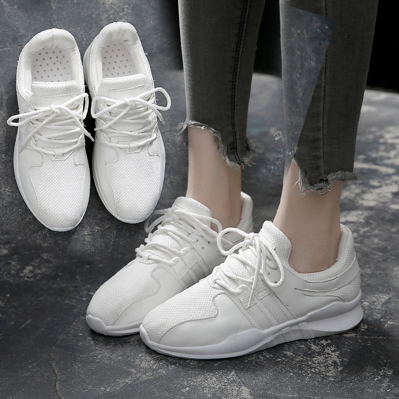 Classic Women Sneakers Flats Air Mesh Cloth Lace Up Female Casual Shoes Zapatillas Deportivas Mujer Black White Shoes Size 35-40 pinsen 2017 summer women flat platform sandals shoes woman casual air mesh comfortable breathable shoes lace up zapatillas mujer