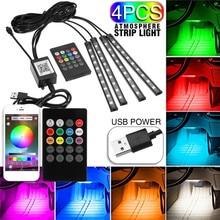 1 conjunto USB Interior Lâmpada Tira 9 LED App Controle Rmote Controle de Luz piso luzes do carro atmosfera Decorativa da lâmpada