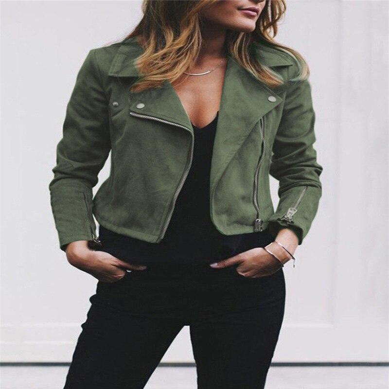 2018 Women's Ladies Vintage   Suede     Leather   Jacket Flight Coat Long Sleeve Lapel Zip Up Biker Casual Tops Clothes   Leather   Coat
