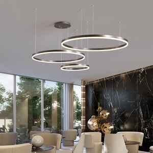 Image 5 - LukLoy Post Modern Rings Loft Chandelier Hotel Suspension Lamp Light Gold Bronze Living Room O Shape Ring Lamp