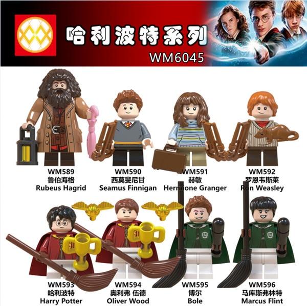 Oyuncaklar ve Hobi Ürünleri'ten Bloklar'de 80 adet/grup Figürleri Rubeus Dobby Hagrid Seamus Finnigan Hermione Moody harri potter oyuncak inşaat blokları'da  Grup 1