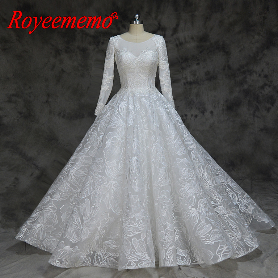new lace ball gown Muslim wedding dress long sleeve wedding gown custom made factory wholesale price bridal dress Платье