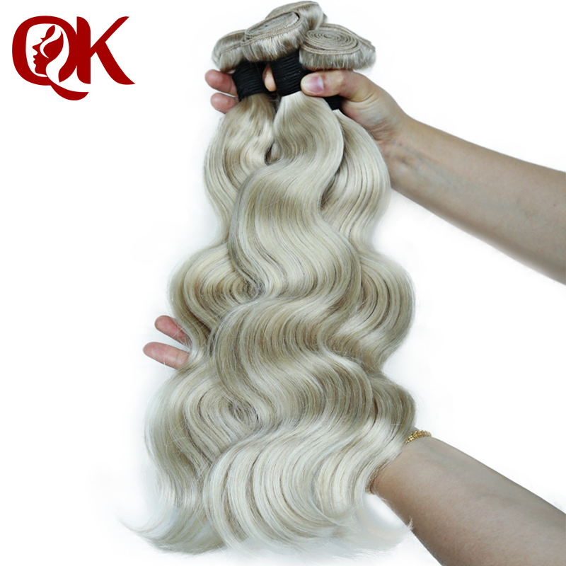 QueenKing Hair Ash Blonde Bundles 3 Pcs/lot #60 Weft Hair Brazilian Remy Body Wave Hair