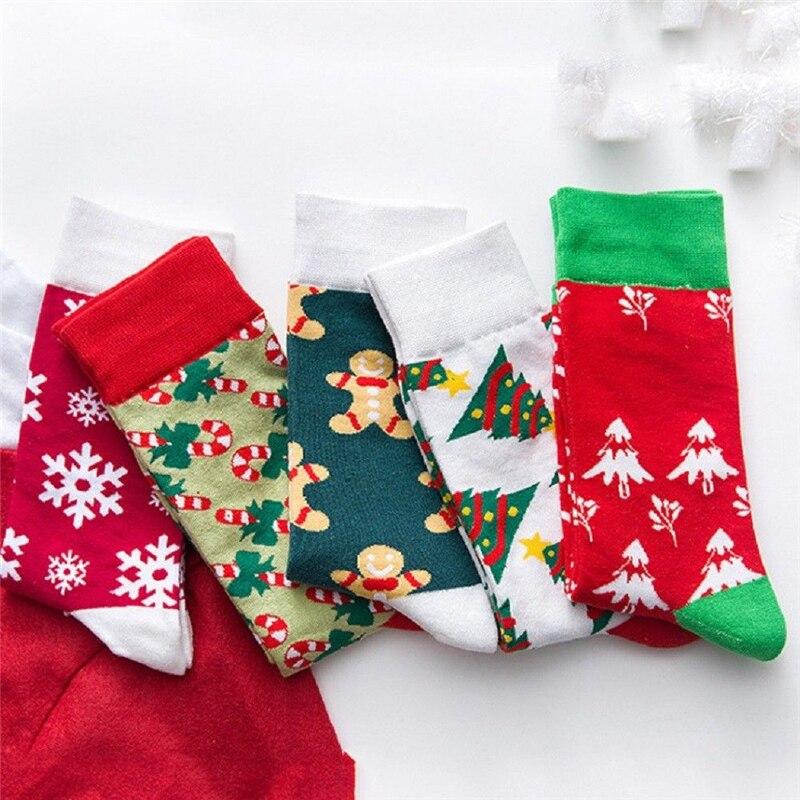 Winter New Christmas Cotton Crew Socks Women Girls Soft Fluffy Warm Xmas Socks Vogue Femme Print Christmas mid-calf length socks