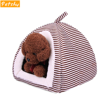 Petshy Stripe Puppy Cats House Cushion Thickening Warmer Pet Tent Cute Foldable Small Animals Home Bed Winter Dog Nest Kennel