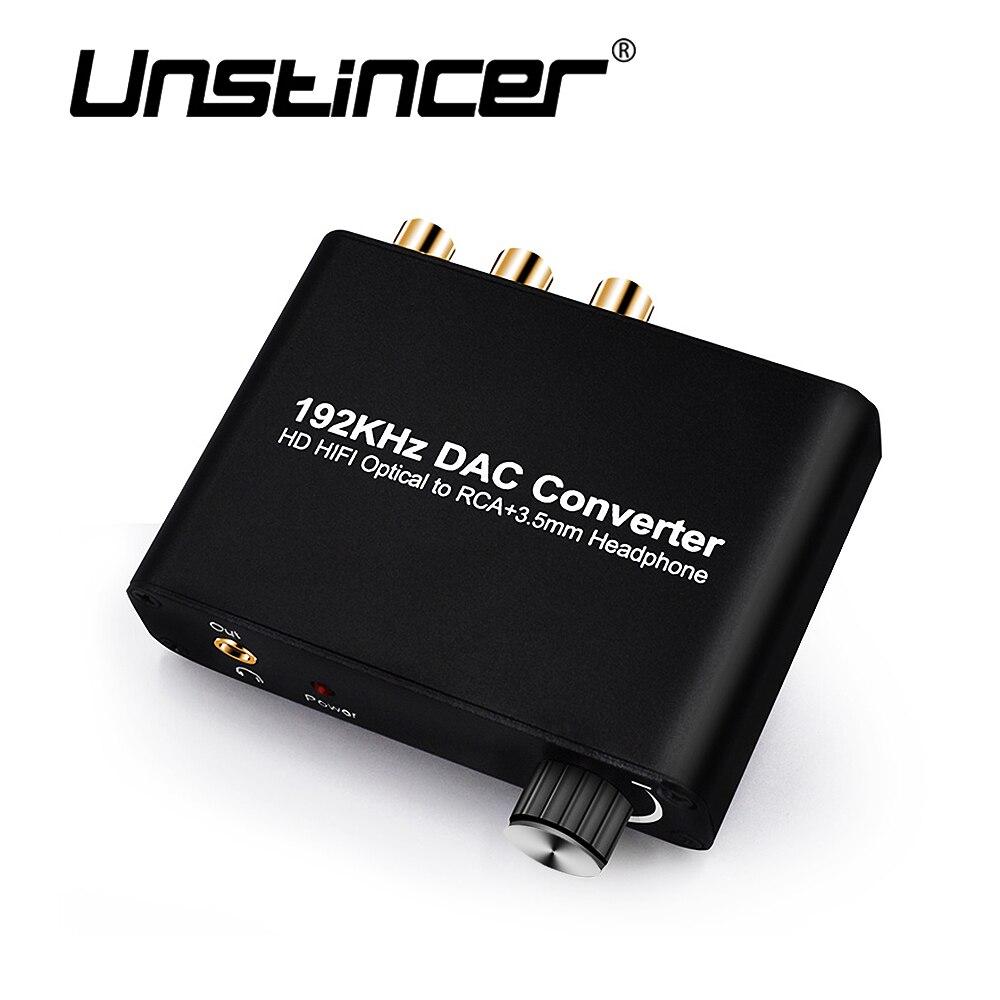 UNSTINCER SPDIF Convertisseur HD HIFI Optique Coaxial à RCA Adaptateur avec 3.5mm Casque Décodeur 5.1 DOBBLY Numérique Décodeur