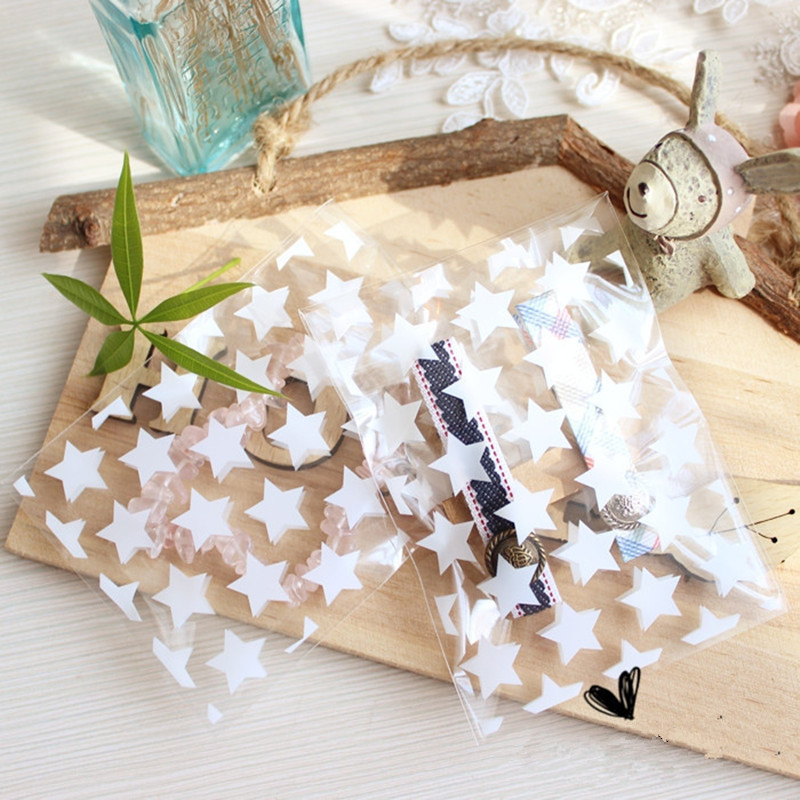 200pcs Clear Star Cookie Bag Cellophane Small Party Favor Gift Candy Package Bag