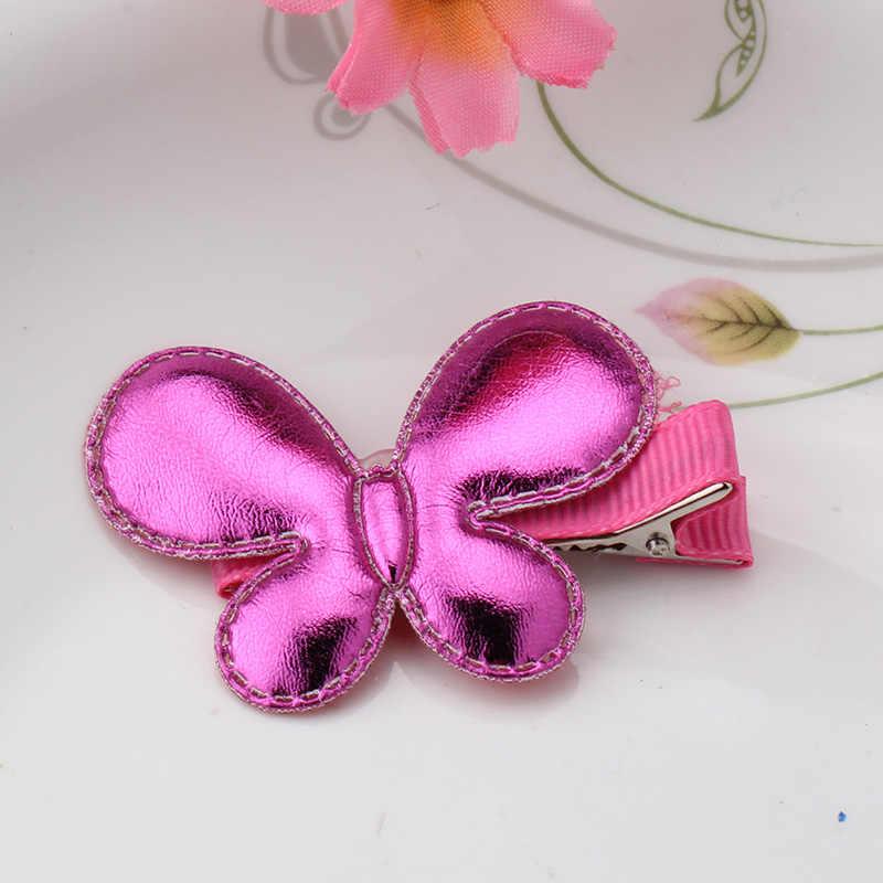 Детский летний стиль металлический цвет Блестящая бабочка шпильки для волос для девочек аксессуары Сердце Звезда заколка для волос для детского платья