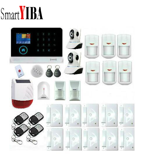 SmartYIBA 3G Alarm System WIFI APP Security Alarm Network IP Camera Wireless Alarm With Solar Siren Glass Break Pet PIR Alarm