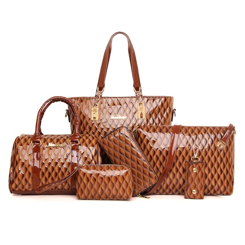 European and American Composite Bag Classic Ladies Embossing font b Handbags b font 6 Sets Shoulder