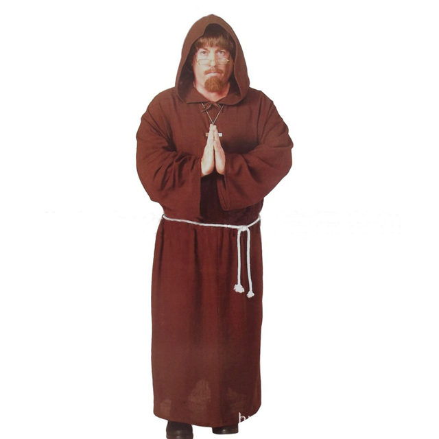 Halloween Adult Mens Priest Costume Medieval Monk ...