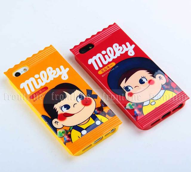 Unique Cute Peko-Chan Milky Candy Design TPU Cases Covers for Apple iPhone 5 5G 5S Japanese Character Cartoon Kids Girls Gift