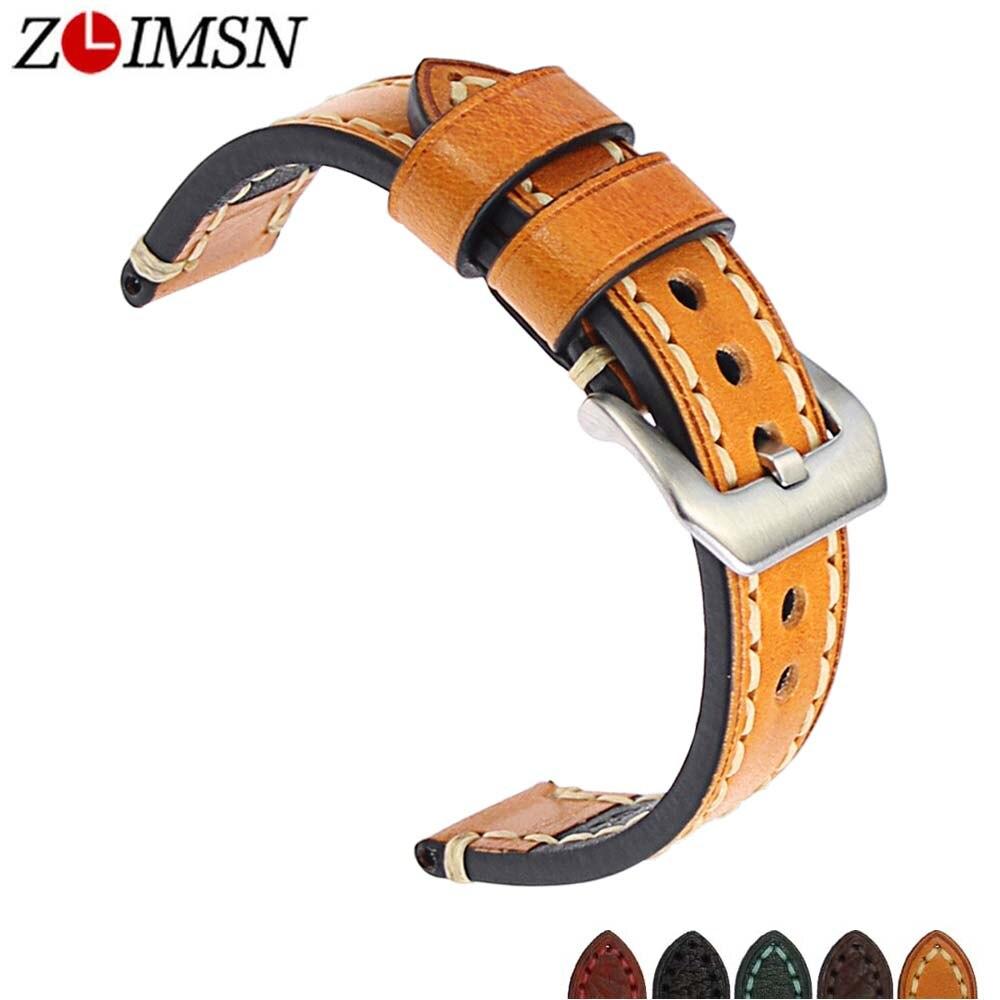 ZLIMSN New vintage En Cuir Véritable Bracelets Montres Bracelet pour Panerai 20mm 22mm 24mm 26mm Hommes de horloge Accessoires Bracelet