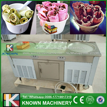110V/220V Imported compressors R410A temperaure setting function fry ice cream roll machine, flat pan fried ice cream machine