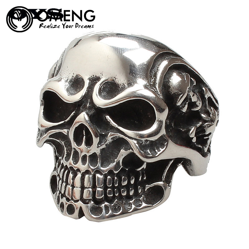 OMENG Free Shipping Punk Biker Skull Ring For Man Stainless Steel Silver Plated Unique Punk Men Cool Vintage Jewelry OJZ067