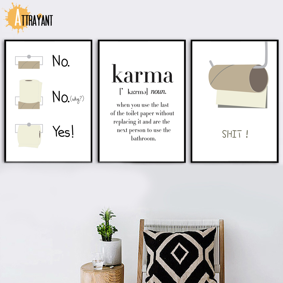 Toilet Paper Funny Shit Quote Karma Wall Art Canvas Painting Nordic