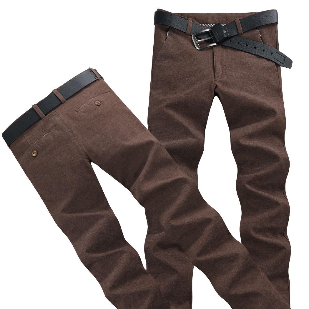 Winter Plus Velvet Pure Color Men's Casual Pants 28 29 30 36 38 Fashion Business Slim Warm Man Trousers Multi-color Selection