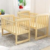 Baby Cribs Wooden Cradle Toddler Newborn Baby Bed Lengthen Widen Solid Wood Cribs Children Bed With Mosquito Net 0 3 Years Baby