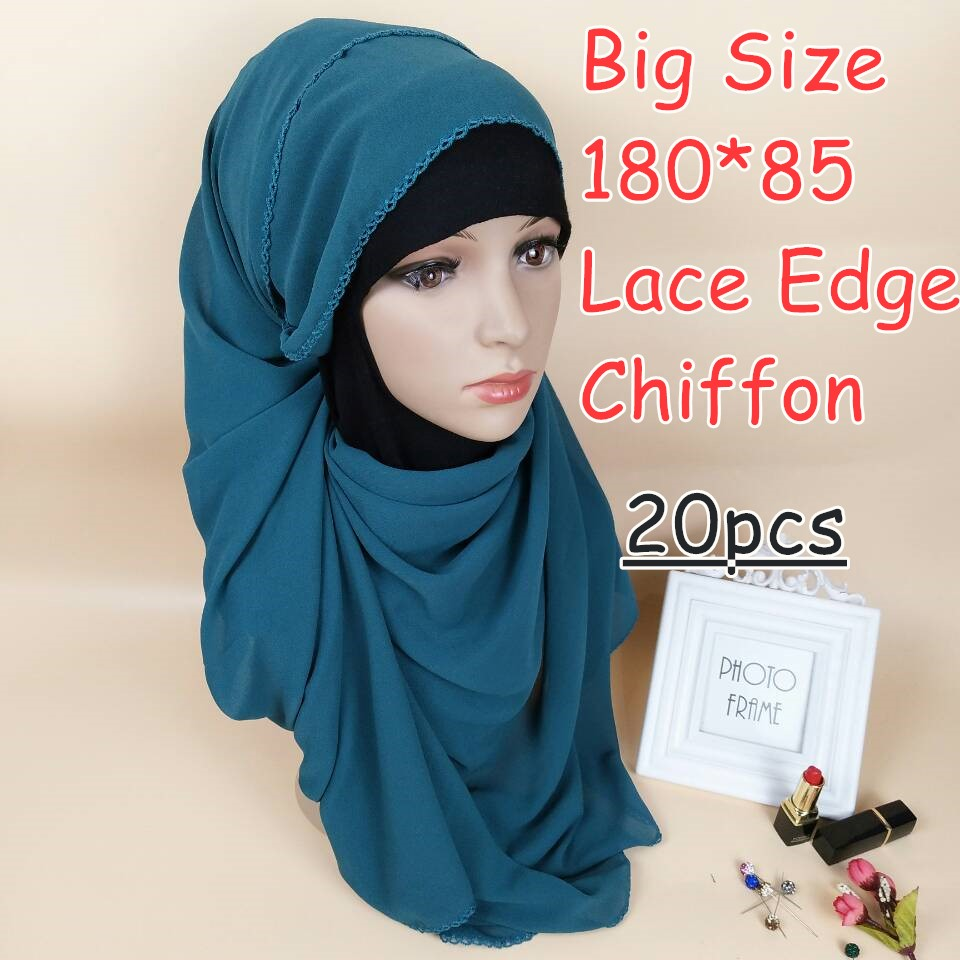 C1 High quality big size bubble chiffon  lace chiffon hijab 180*85cm women scarf scarves wrap shawls 20pcs/lot