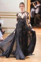 Mode Schwarz Benutzerdefinierte Long Sleeves Abendkleider Abendkleid A-line Spitze Applique Spitze Arabisch Dubai Abendkleid Abendkleider