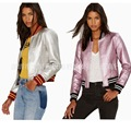 2017 New Spring Fashion Women's Short Washed Jacket Zipper Silver Pink Colors Ladies Basic Jackets Good Quality Casual Jackets
