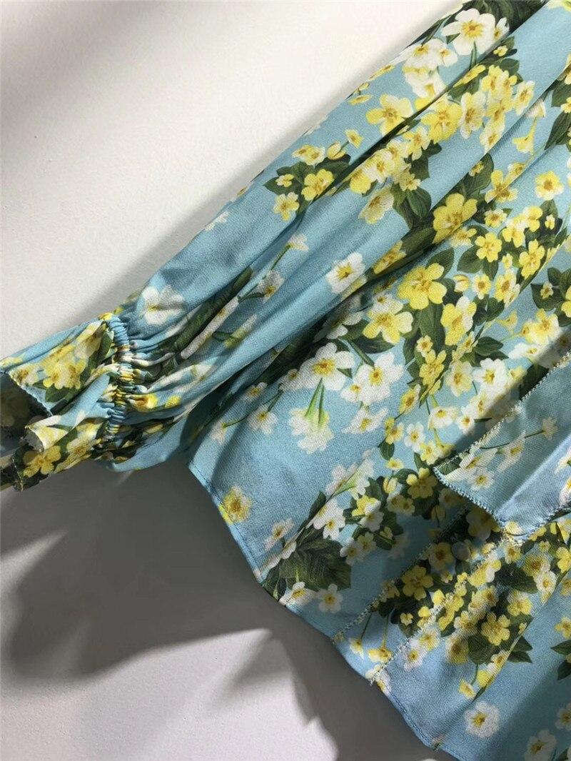 Larga Las Moda Impresión Nueva Otoño Primavera De Floral Collar Mujeres Blusa Señoras 2018 Manga Top Arco ttwrTqOZ