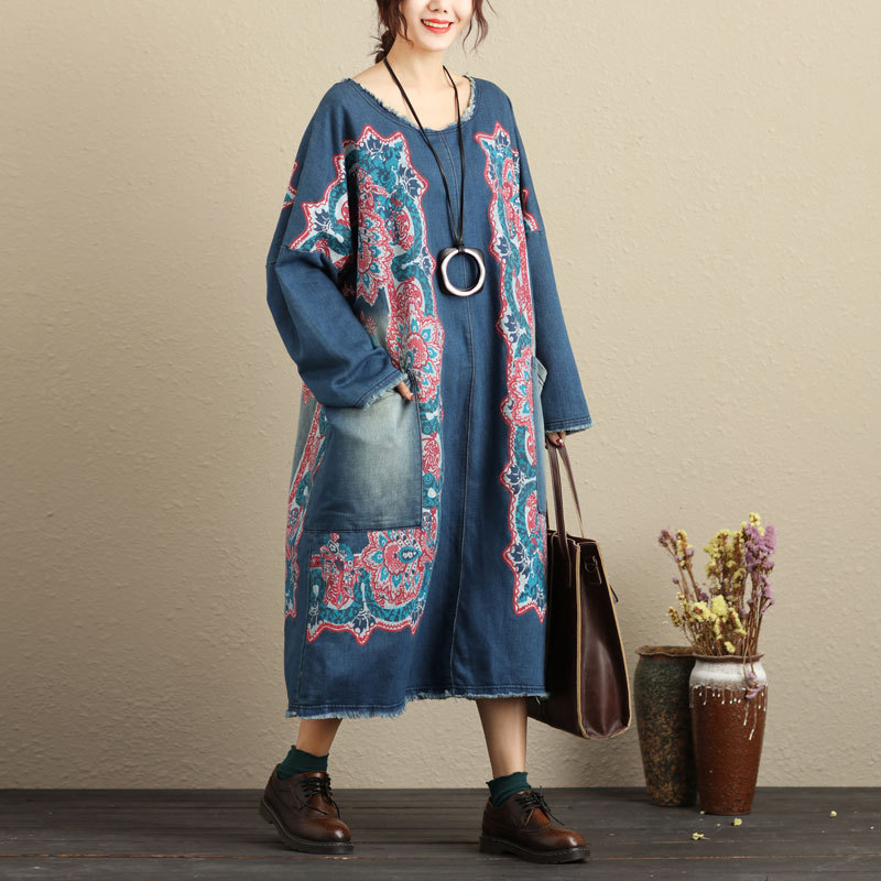 Oversized Baggy Pullovers Dress Ladies Plus Size Bat Sleeve Knitted cowboy Dress Bleached Vintage Baggy Denim