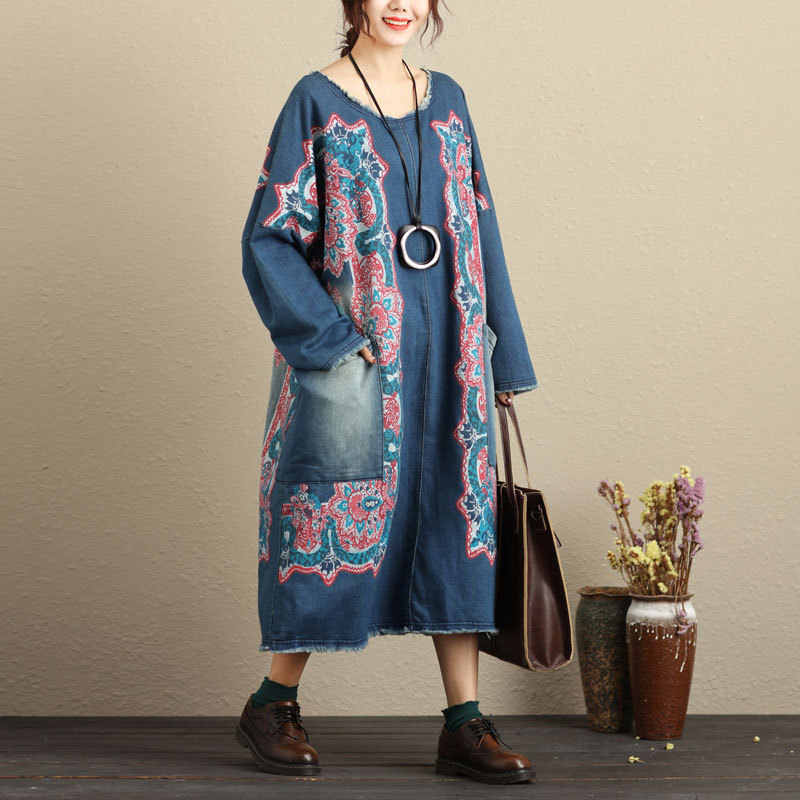 Oversized Baggy Pullovers Dress Ladies Plus Size Bat Sleeve Knitted cowboy  Dress Bleached Vintage Baggy Denim 5f3e6aad3d6a