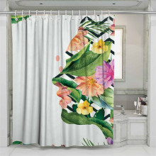 3D Green Tropical Plants Beach Shower Curtain Bathroom Waterproof Polyester Printing Curtains for #ZW1