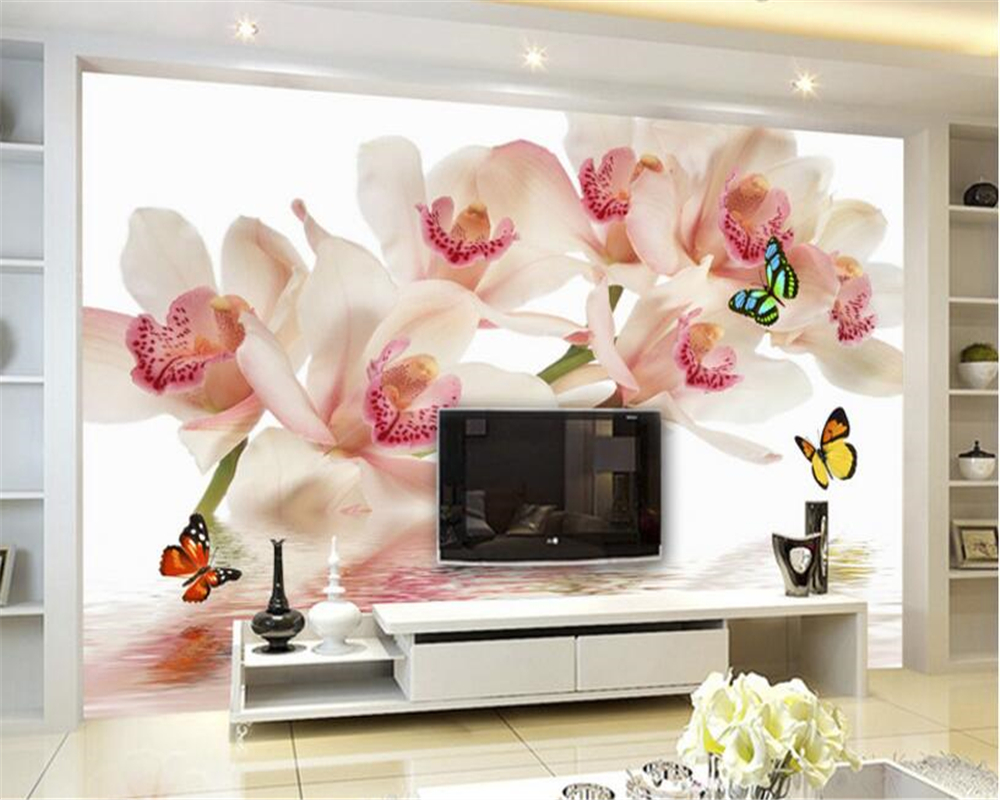 beibehang papel parede Custom Photo Wall Frescoes Phalaenopsis Floral Reflections TV Wall Decorative 3D Wallpaper papel pintado
