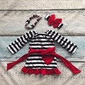 baby girls Spring outfit suit red black striped love heart belt cotton kids dress ruffles clothes with matching accessories