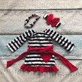 Bebé niñas traje de primavera traje rojo negro rayado amor corazón cinturón de algodón kids dress ruffles ropa con accesorios a juego