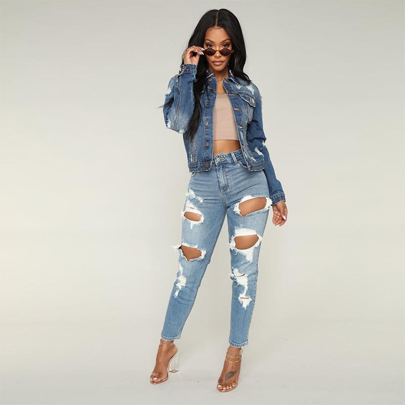 Women Jeans High Waist Casual Pants Female Slim Jeans Boyfriend Hole Ripped Jeans Women Pants Cool Denim Vintage Straight Jeans