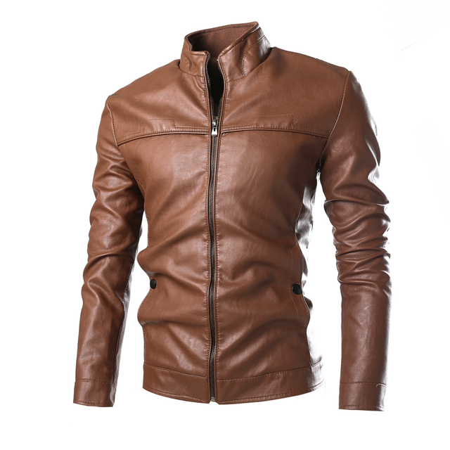 Hot Sale Arrivals Autumn Winter Brand Leather Jacket Men Black Slim Fit Mens Motorcycle Jackets and Coats Bomber free shipping