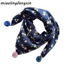 Треугольный хлопковый шарф с цветочным принтом; шали для девочек; теплый детский шарф; воротники на шею; сезон осень-зима; одежда на шею; нагрудник; Детский шарф