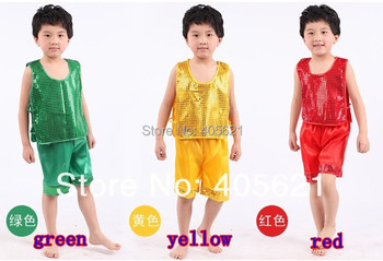 20set/lot 2020 Fashion sequined vest suits boys dance clothes children's performances costumes stage
