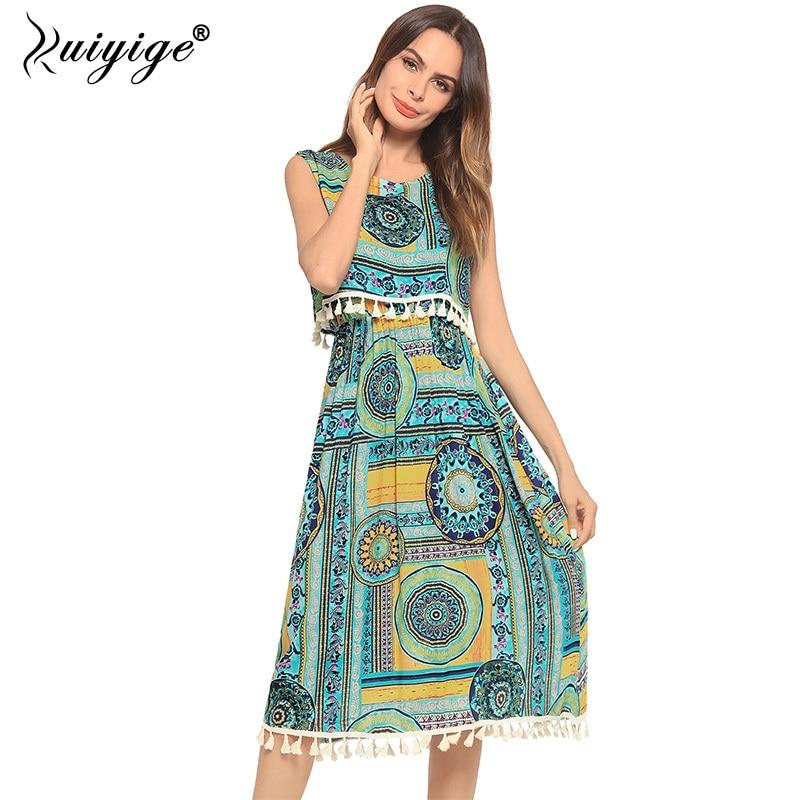 Ruiyige 2018 Summer Print Dress Tassel Casual Holiday Tank O Neck Sleeveless Dresses Ethnic Style Women Midi Bench Vestidos