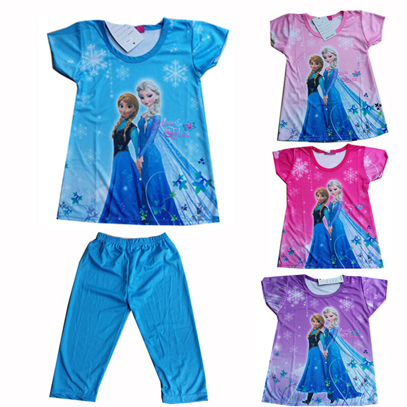 2016 Children Clothing Elsa Girls Pajamas Set Short sleeve Cotton Girl Pyjama Pijamas Kids Clothing Sets 2~8 Girls Clothes CK009