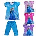 2017 Children Clothing Elsa Girls Pajamas Set Short sleeve Cotton Girl Pyjama Pijamas Kids Clothing Sets 2~8 Girls Clothes CK009
