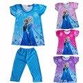 2017 Ropa de Los Niños Elsa Girls Pajamas Set de manga Corta de Algodón de la Muchacha Pijama Pijamas Niños Que Arropan 2 ~ 8 Niñas ropa CK009