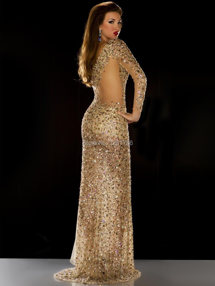 2015 One Shoulder Online Party Dress Long Sleeve Sequins Latest ...