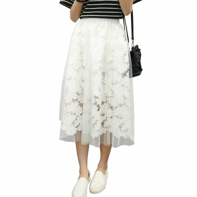 760485bda2d Nuoxin модные Кружево Тюль Юбки для женщин Для женщин Высокая талия сетки  миди плиссе юбка-