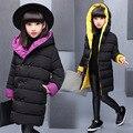 2016 novo Casaco de Inverno Meninas Engrossar Quente Algodão Acolchoado Parkas Encapuzados Crianças jaqueta de Inverno para as meninas roupas roupas Para Crianças menina