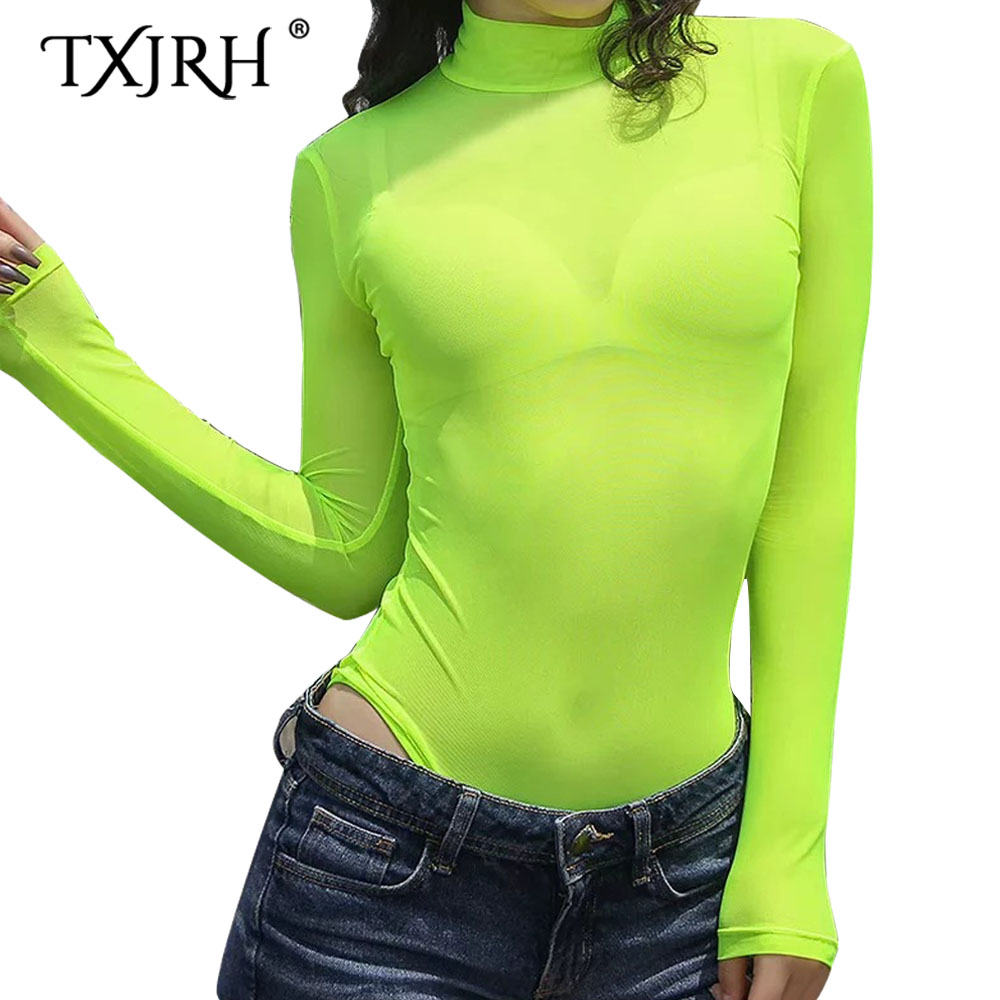 TXJRH 2019 Sexy Fluorescent Green Perspective fit Romper Body Siamese Bodysuit Slim Skinny Tight   Jumpsuit   Undershirt Playsuits